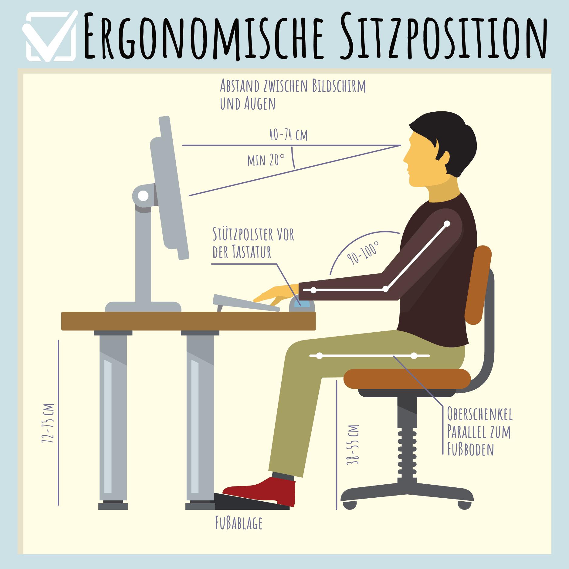 Ergonomische Sitzhaltung fördert Lernmotivation